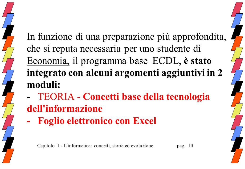 In funzione di una preparazione più approfondita, che si reputa necessaria per uno studente di Economia, il programma base ECDL, è stato integrato con alcuni argomenti aggiuntivi in 2 moduli: - TEORIA - Concetti base della tecnologia dell informazione - Foglio elettronico con Excel