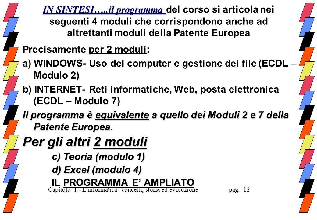 IN SINTESI…..il programma del corso si articola nei seguenti 4 moduli che corrispondono anche ad altrettanti moduli della Patente Europea