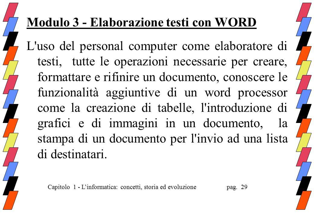 Modulo 3 - Elaborazione testi con WORD