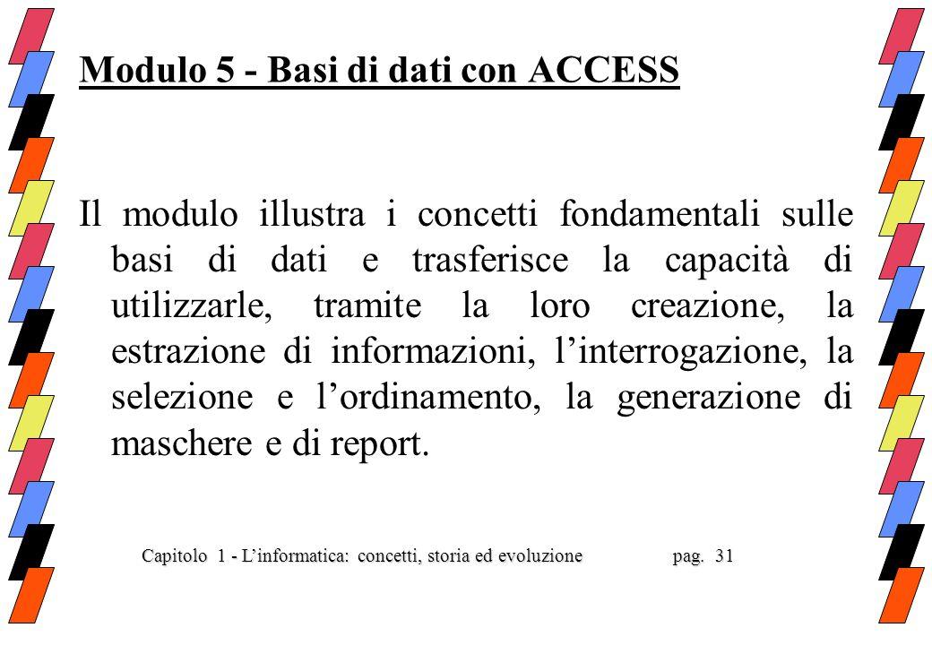 Modulo 5 - Basi di dati con ACCESS