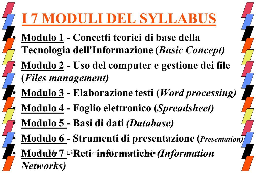 I 7 MODULI DEL SYLLABUS Modulo 1 - Concetti teorici di base della Tecnologia dell Informazione (Basic Concept)