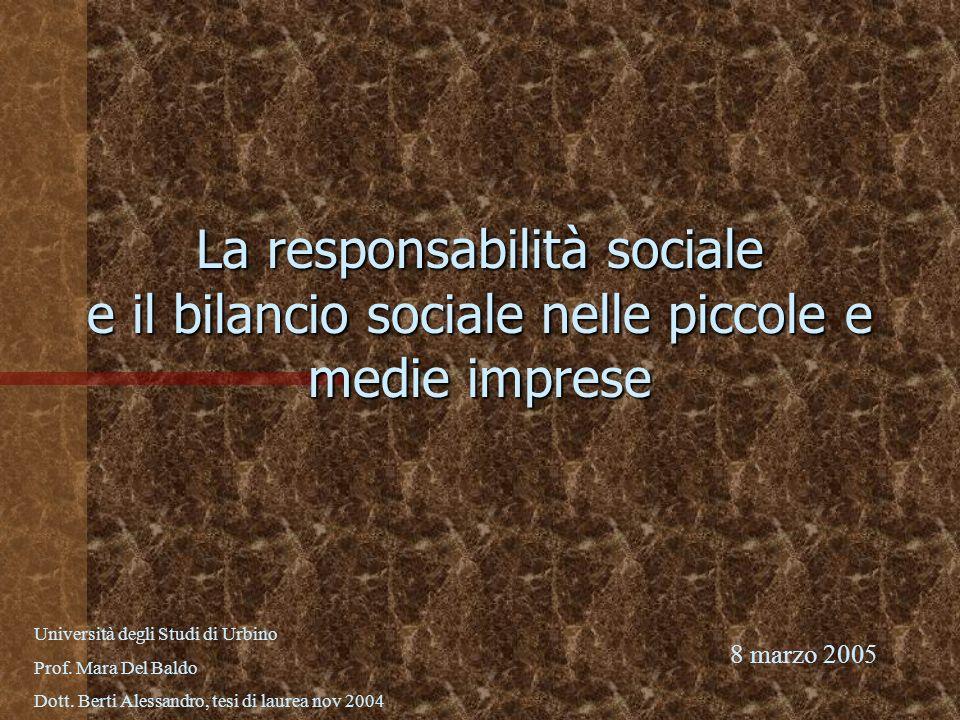 La responsabilità sociale e il bilancio sociale nelle piccole e medie imprese