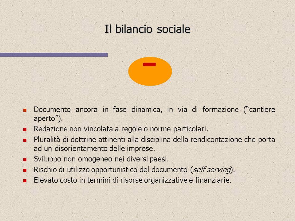 Il bilancio sociale  Documento ancora in fase dinamica, in via di formazione ( cantiere aperto ).