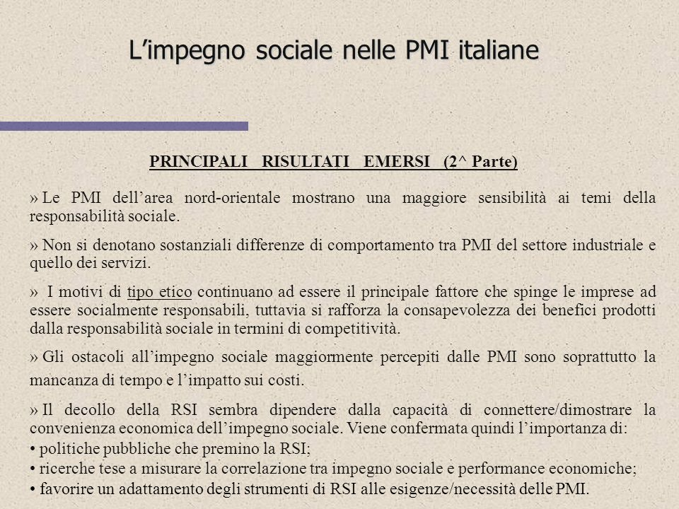 L'impegno sociale nelle PMI italiane