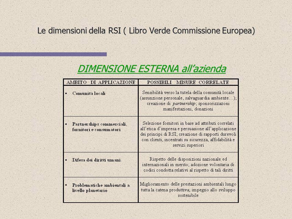 Le dimensioni della RSI ( Libro Verde Commissione Europea)