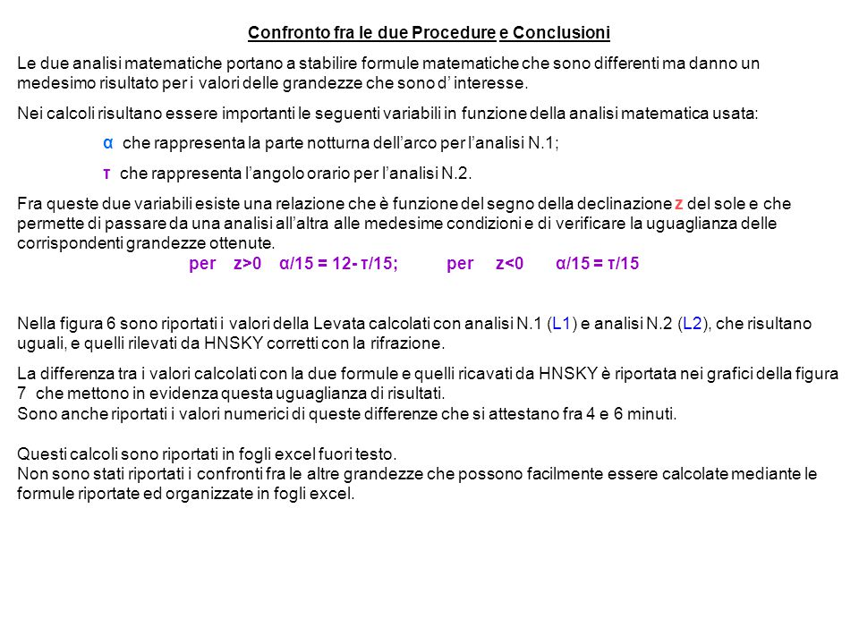 Confronto fra le due Procedure e Conclusioni
