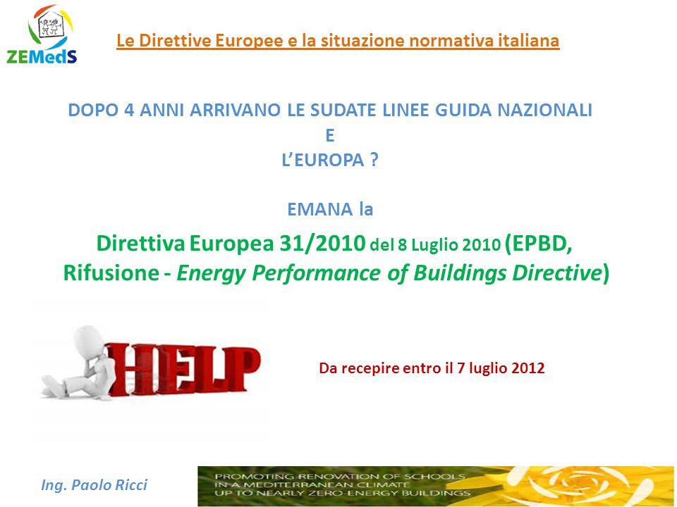 Direttiva Europea 31/2010 del 8 Luglio 2010 (EPBD,