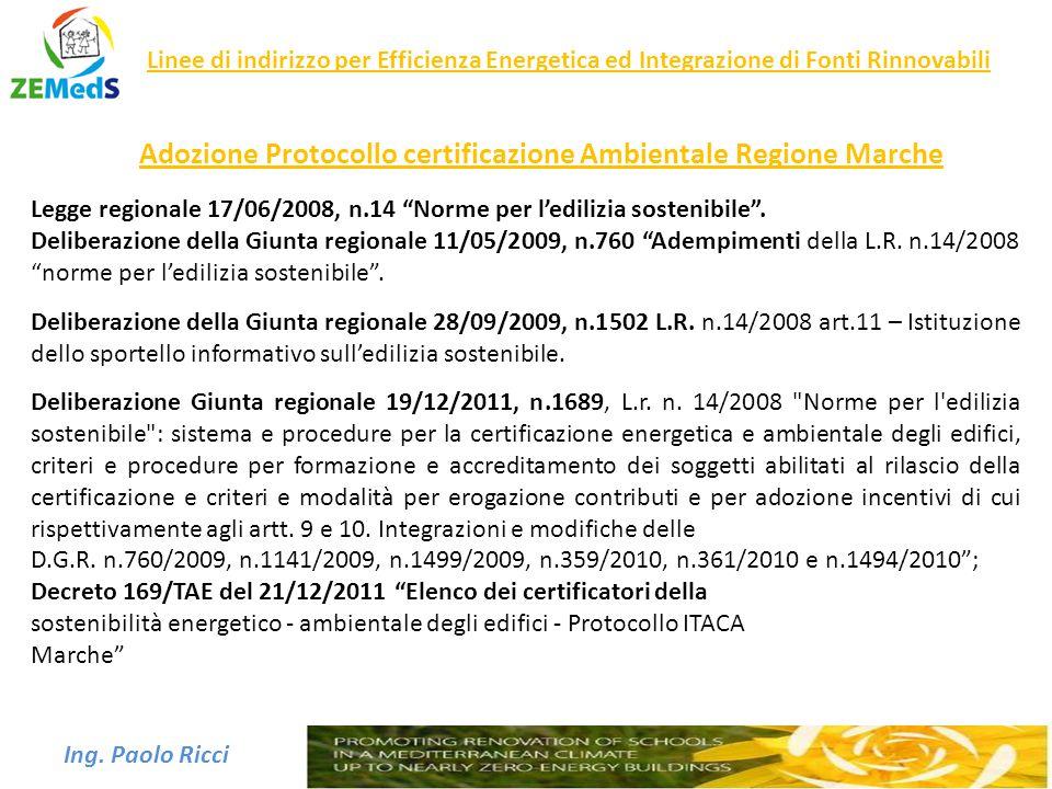 Adozione Protocollo certificazione Ambientale Regione Marche