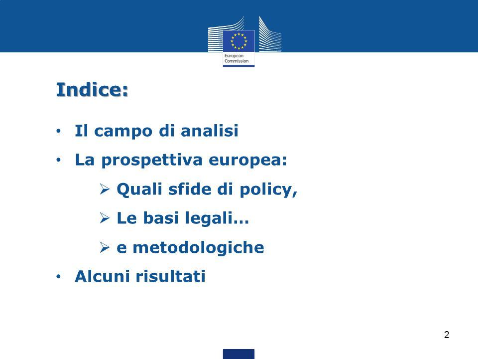 Indice: Il campo di analisi La prospettiva europea: