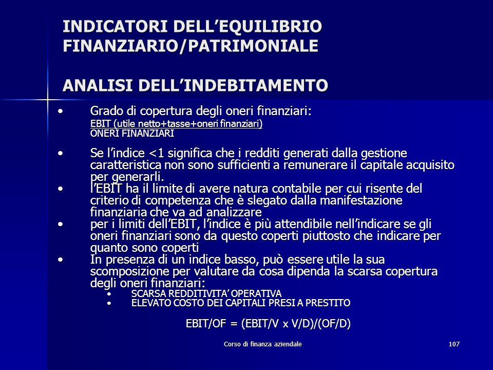 INDICATORI DELL'EQUILIBRIO FINANZIARIO/PATRIMONIALE ANALISI DELL'INDEBITAMENTO