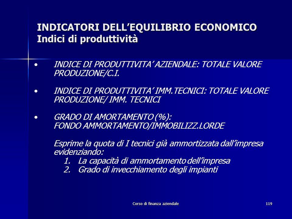INDICATORI DELL'EQUILIBRIO ECONOMICO Indici di produttività
