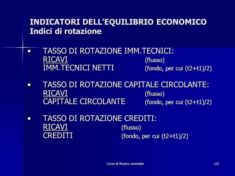 INDICATORI DELL'EQUILIBRIO ECONOMICO Indici di rotazione