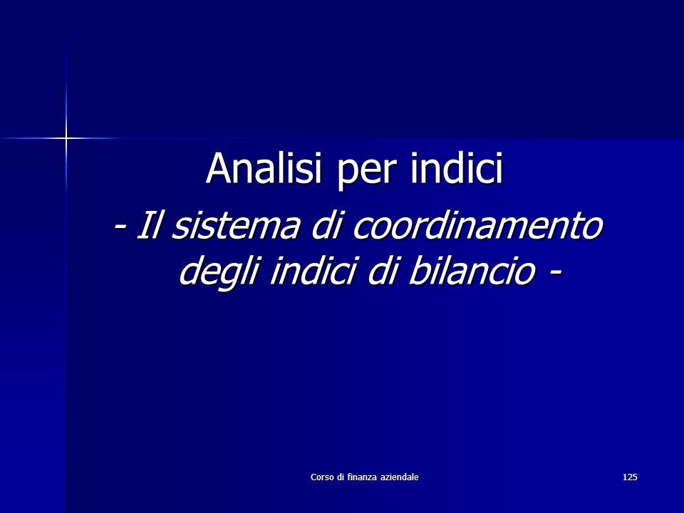 Analisi per indici- Il sistema di coordinamento degli indici di bilancio - Corso di finanza aziendale.