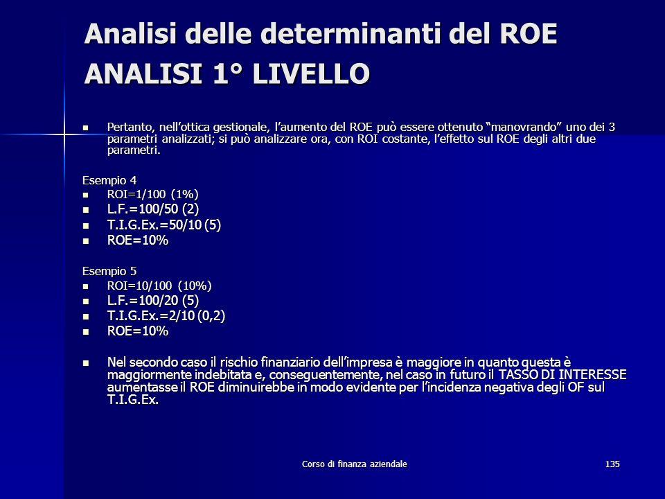 Analisi delle determinanti del ROE ANALISI 1° LIVELLO