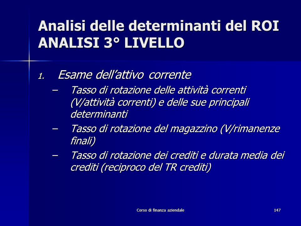 Analisi delle determinanti del ROI ANALISI 3° LIVELLO