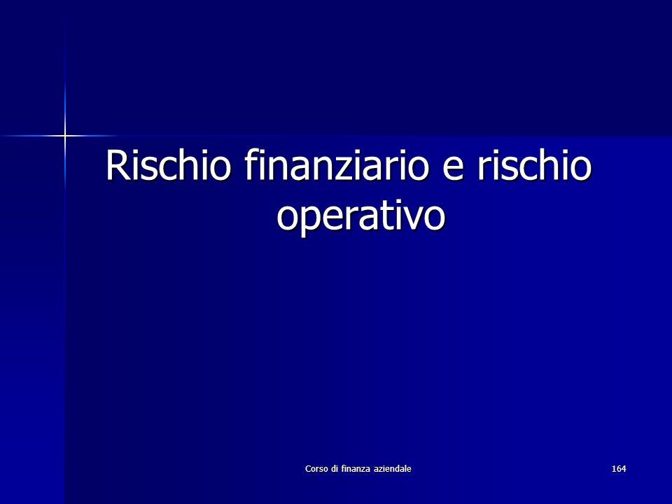 Rischio finanziario e rischio operativo