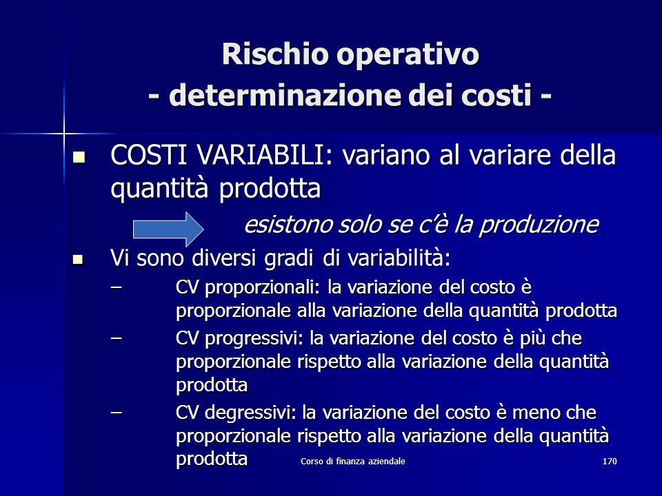 Rischio operativo - determinazione dei costi -