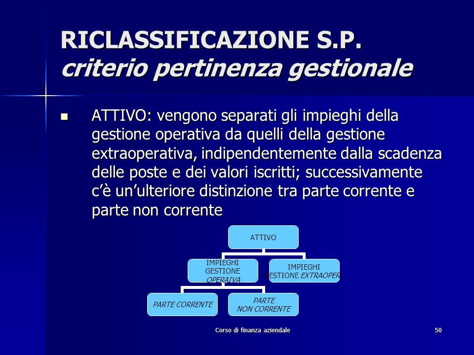 RICLASSIFICAZIONE S.P. criterio pertinenza gestionale