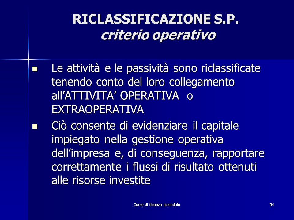 RICLASSIFICAZIONE S.P. criterio operativo