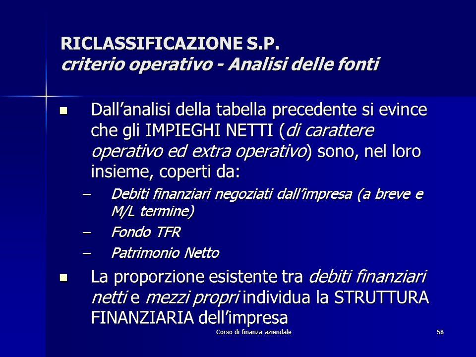 RICLASSIFICAZIONE S.P. criterio operativo - Analisi delle fonti