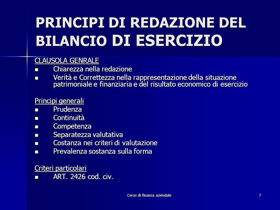 PRINCIPI DI REDAZIONE DEL BILANCIO DI ESERCIZIO