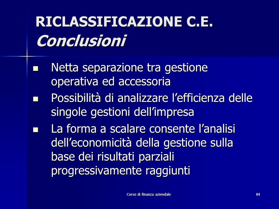 RICLASSIFICAZIONE C.E. Conclusioni