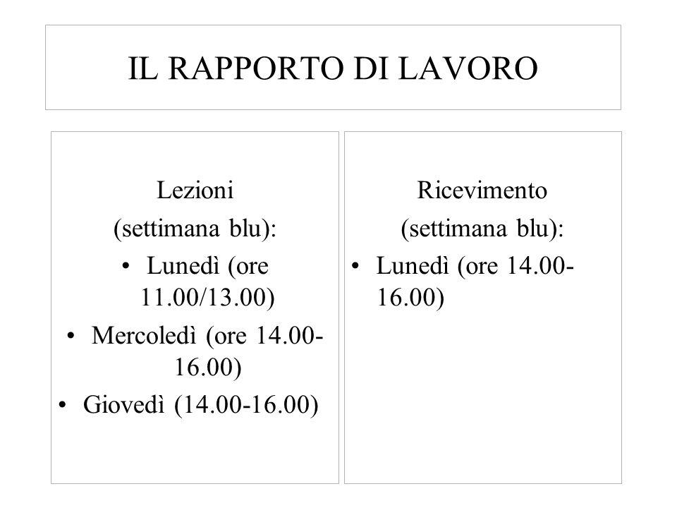 IL RAPPORTO DI LAVORO Lezioni (settimana blu):