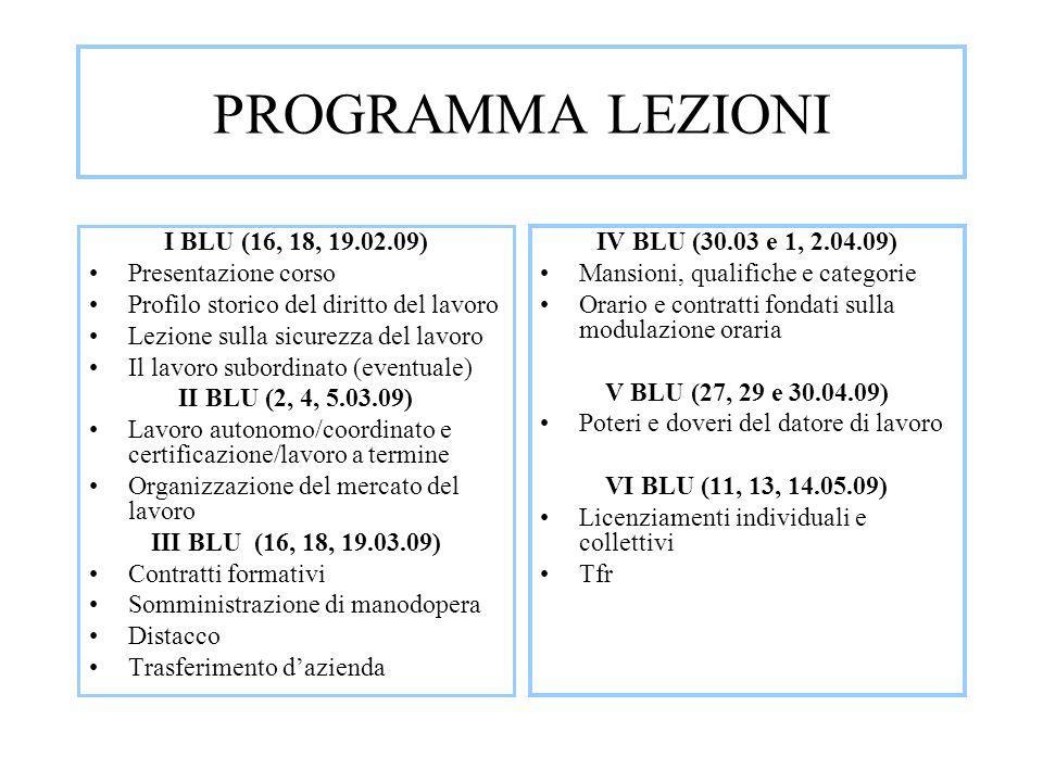 PROGRAMMA LEZIONI I BLU (16, 18, 19.02.09) Presentazione corso
