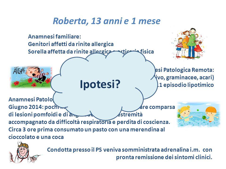 Ipotesi Roberta, 13 anni e 1 mese Anamnesi familiare: