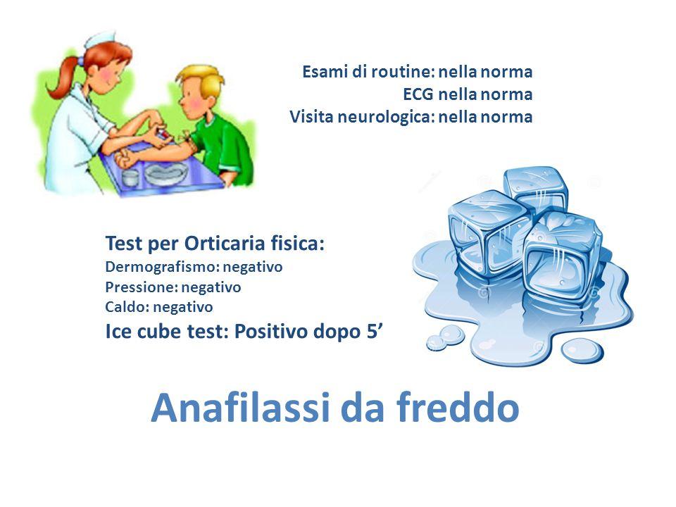 Anafilassi da freddo Test per Orticaria fisica: