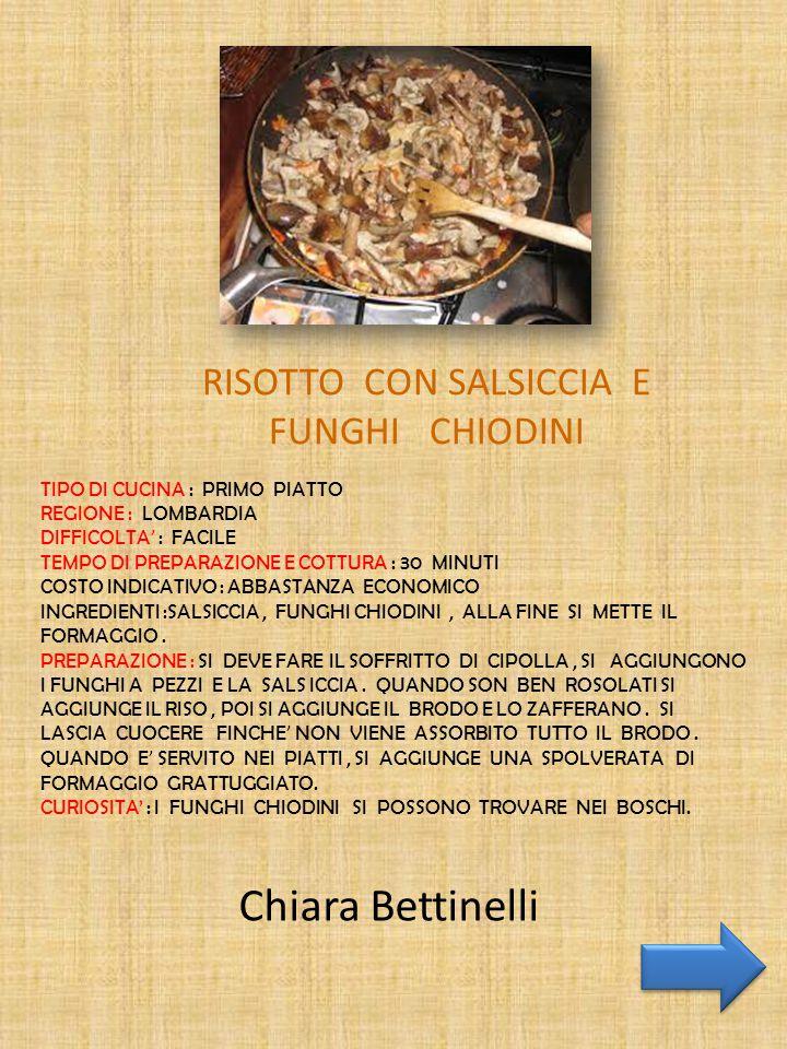 RISOTTO CON SALSICCIA E FUNGHI CHIODINI