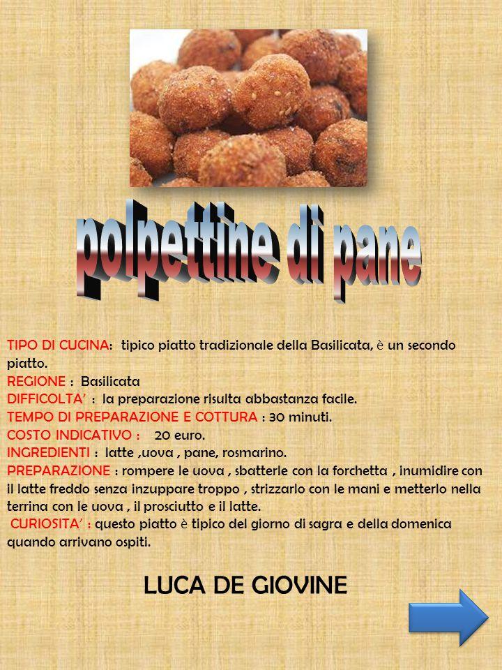 polpettine di pane LUCA DE GIOVINE