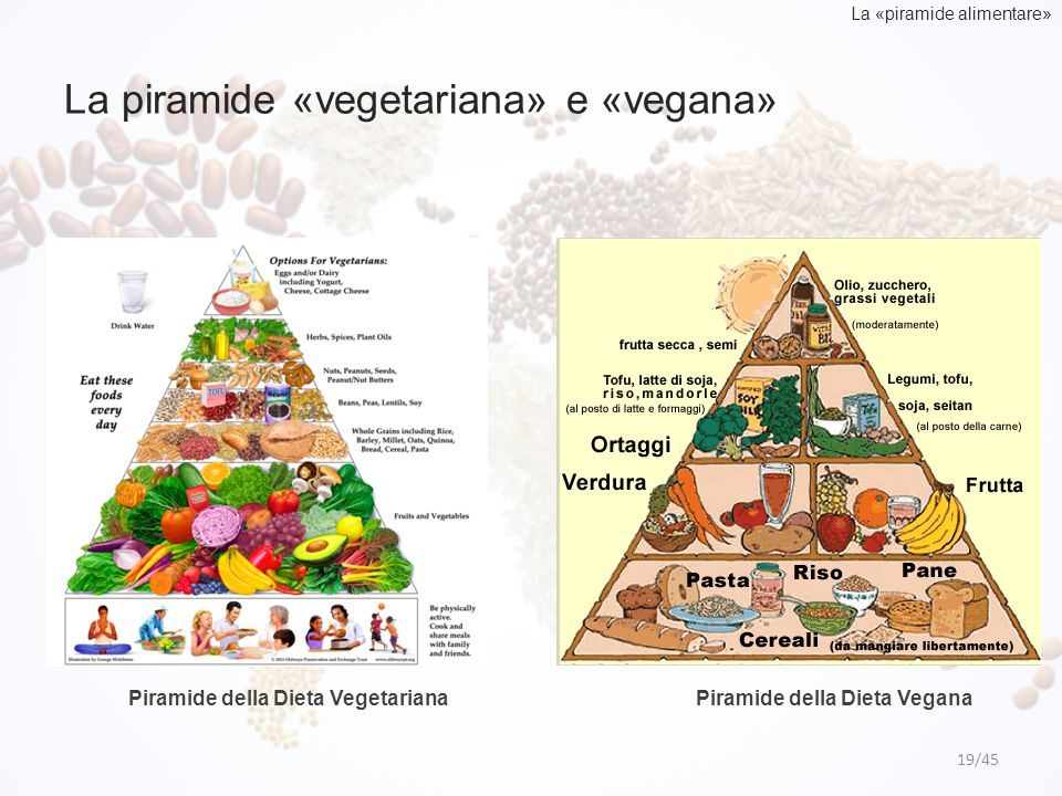 La piramide «vegetariana» e «vegana»