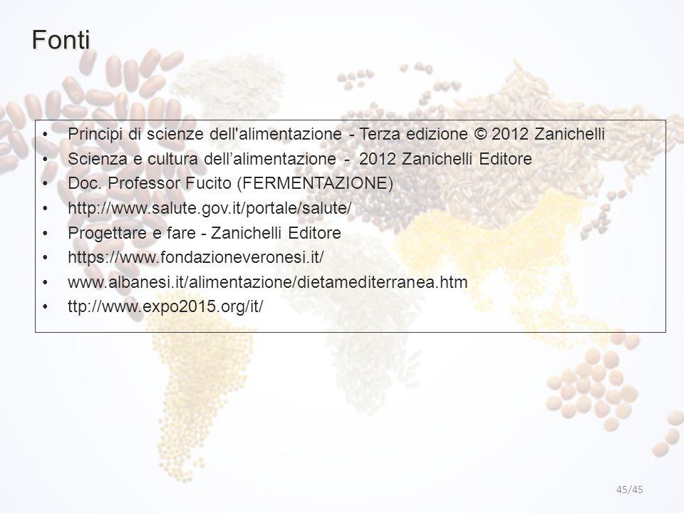 Fonti Principi di scienze dell alimentazione - Terza edizione © 2012 Zanichelli. Scienza e cultura dell'alimentazione - 2012 Zanichelli Editore.