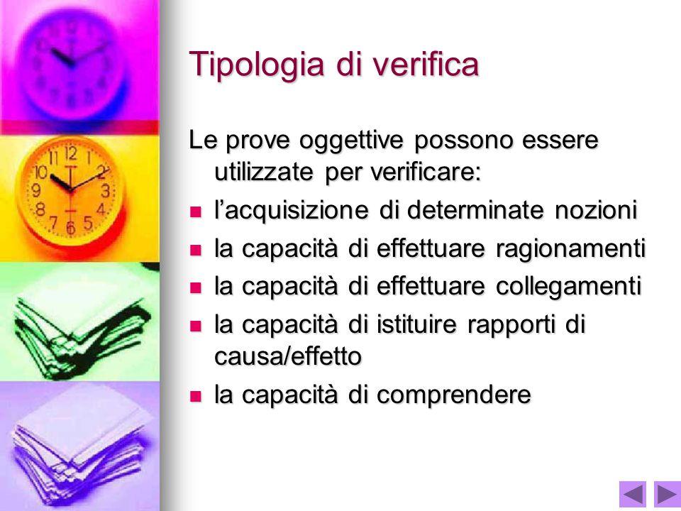 Tipologia di verifica Le prove oggettive possono essere utilizzate per verificare: l'acquisizione di determinate nozioni.