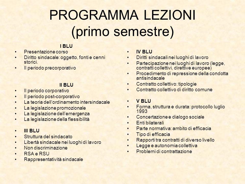 PROGRAMMA LEZIONI (primo semestre)