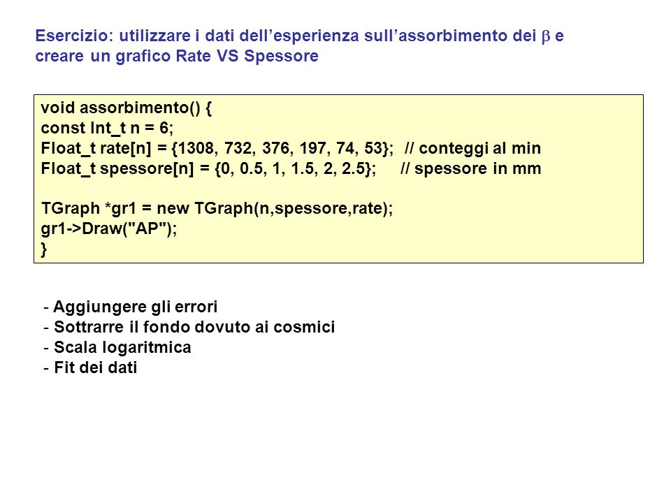 Esercizio: utilizzare i dati dell'esperienza sull'assorbimento dei  e creare un grafico Rate VS Spessore