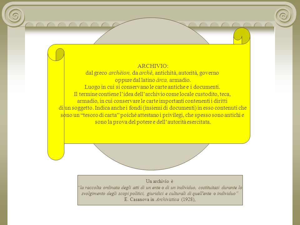 dal greco archèion, da arché, antichità, autorità, governo