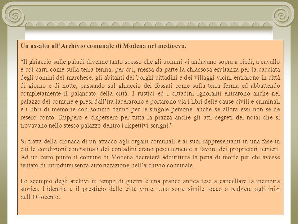 Un assalto all'Archivio comunale di Modena nel medioevo.