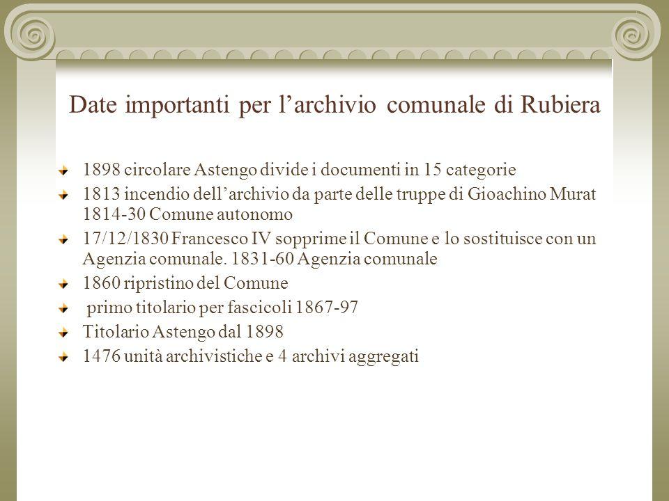 Date importanti per l'archivio comunale di Rubiera