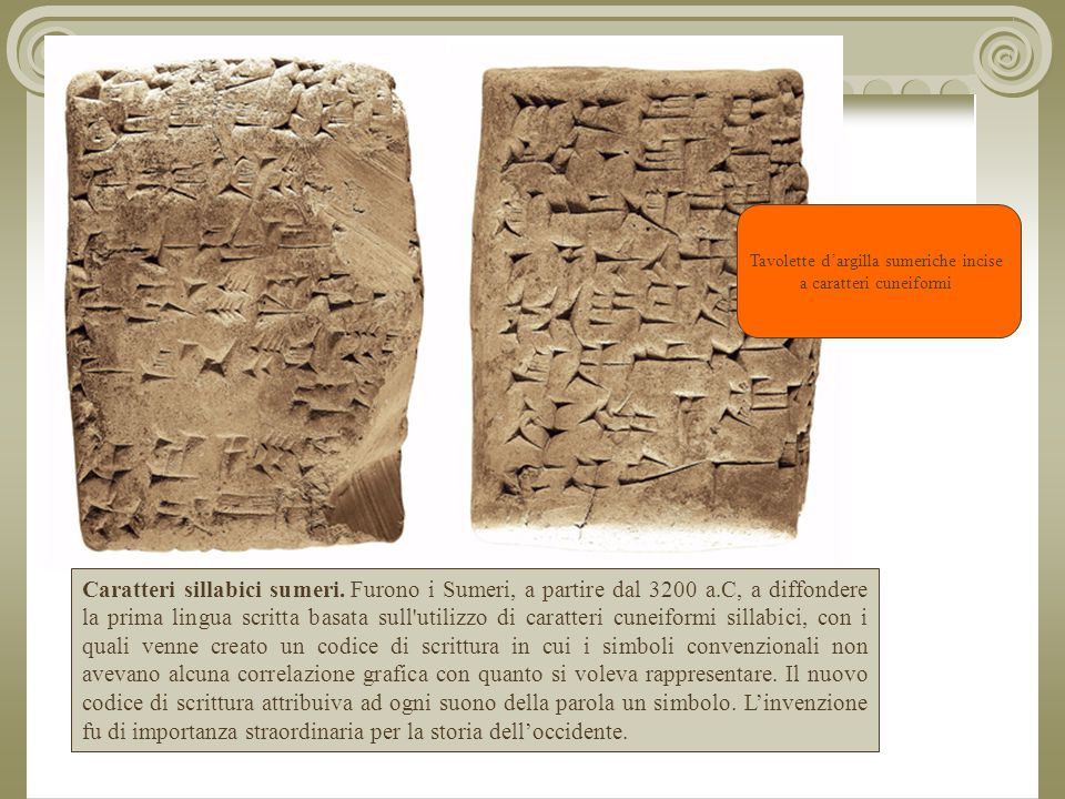 Tavolette d'argilla sumeriche incise