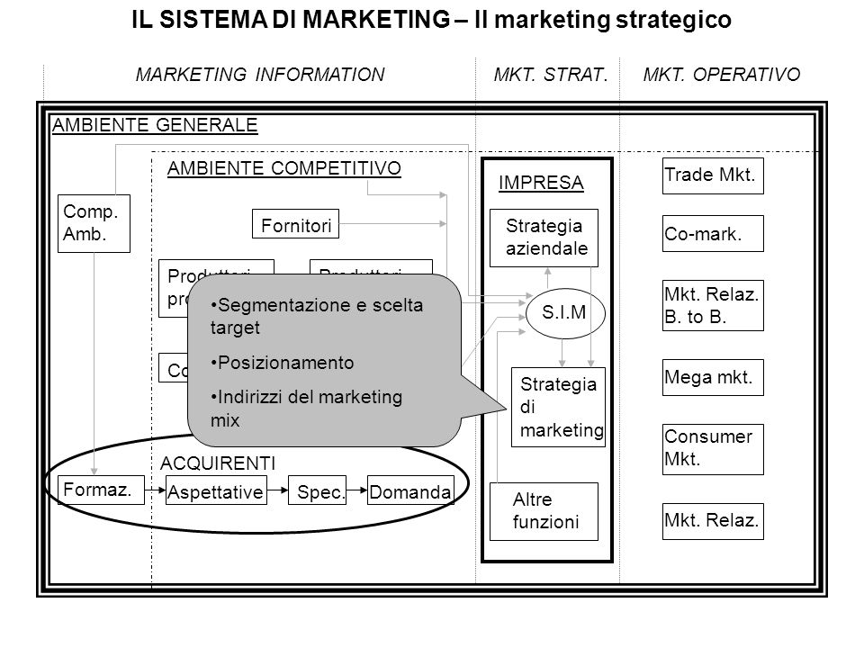 IL SISTEMA DI MARKETING – Il marketing strategico