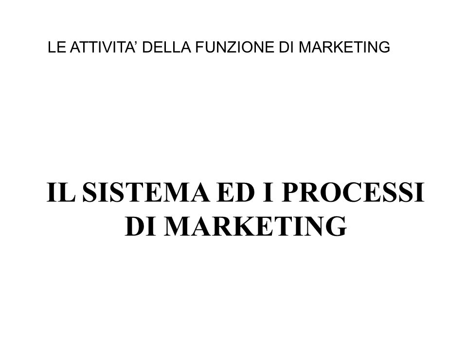 IL SISTEMA ED I PROCESSI DI MARKETING