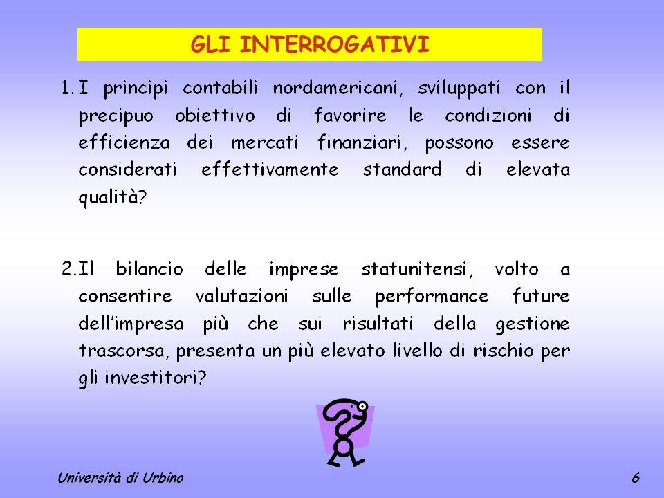 GLI INTERROGATIVI Università di Urbino