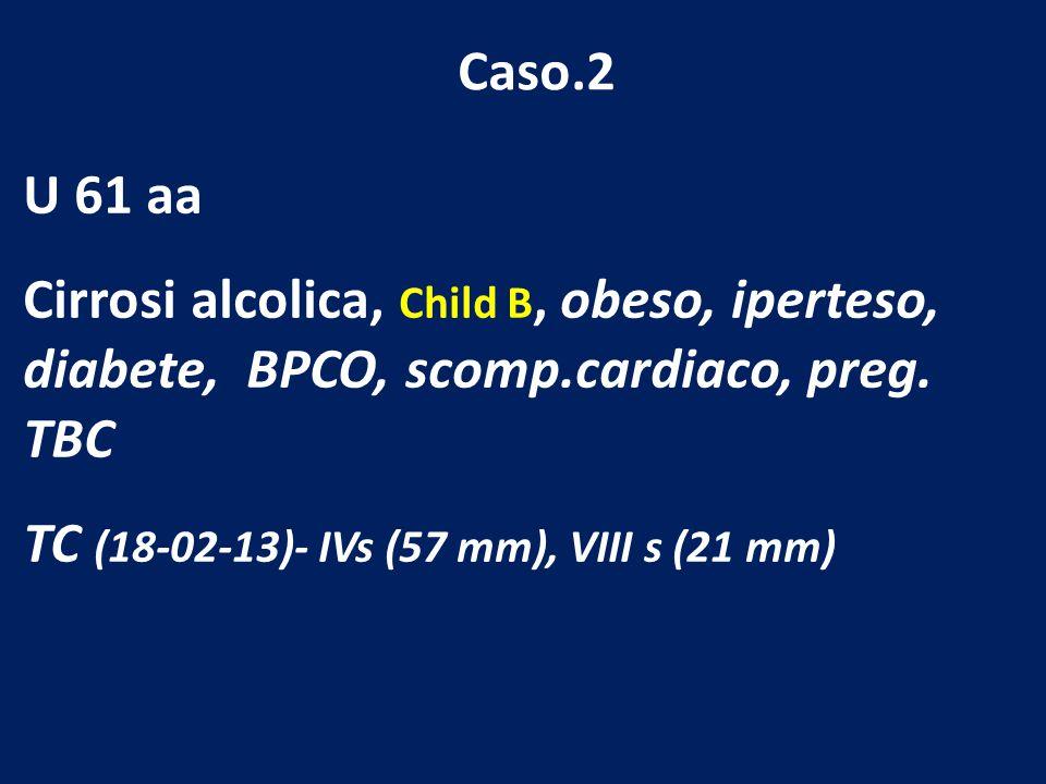 Caso.2 U 61 aa. Cirrosi alcolica, Child B, obeso, iperteso, diabete, BPCO, scomp.cardiaco, preg. TBC.