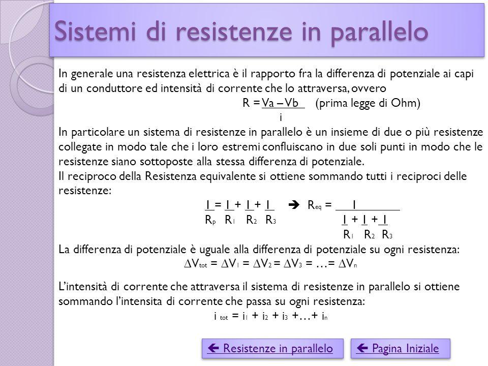 Sistemi di resistenze in parallelo