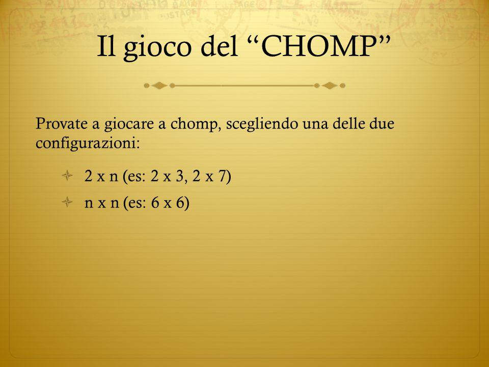Il gioco del CHOMP Provate a giocare a chomp, scegliendo una delle due configurazioni: 2 x n (es: 2 x 3, 2 x 7)