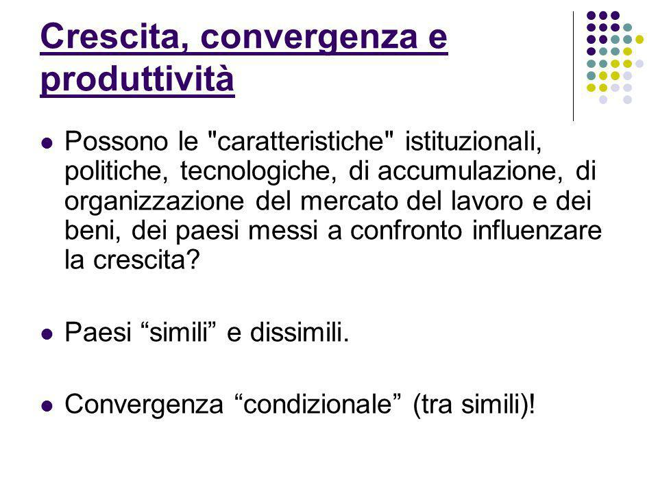 Crescita, convergenza e produttività