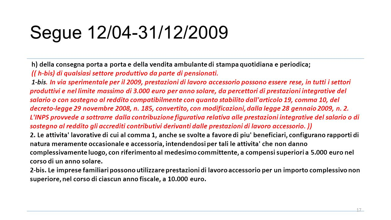Segue 12/04-31/12/2009 h) della consegna porta a porta e della vendita ambulante di stampa quotidiana e periodica;