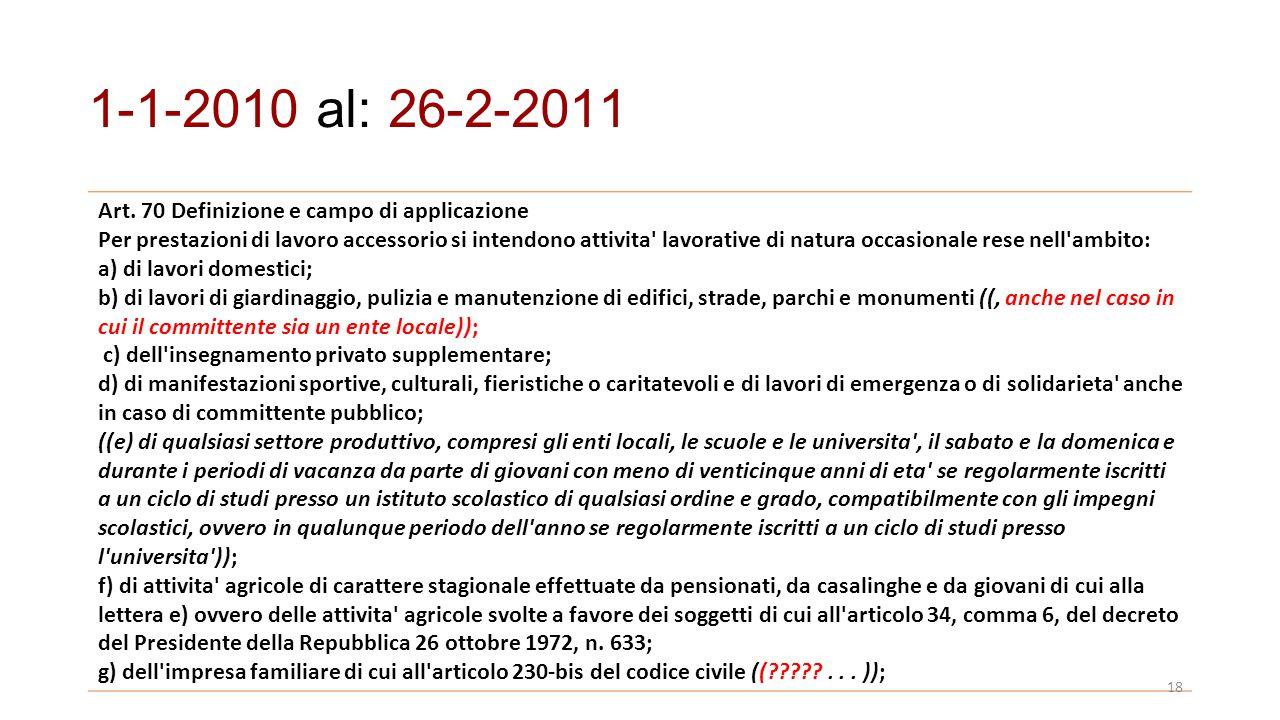 1-1-2010 al: 26-2-2011 Art. 70 Definizione e campo di applicazione